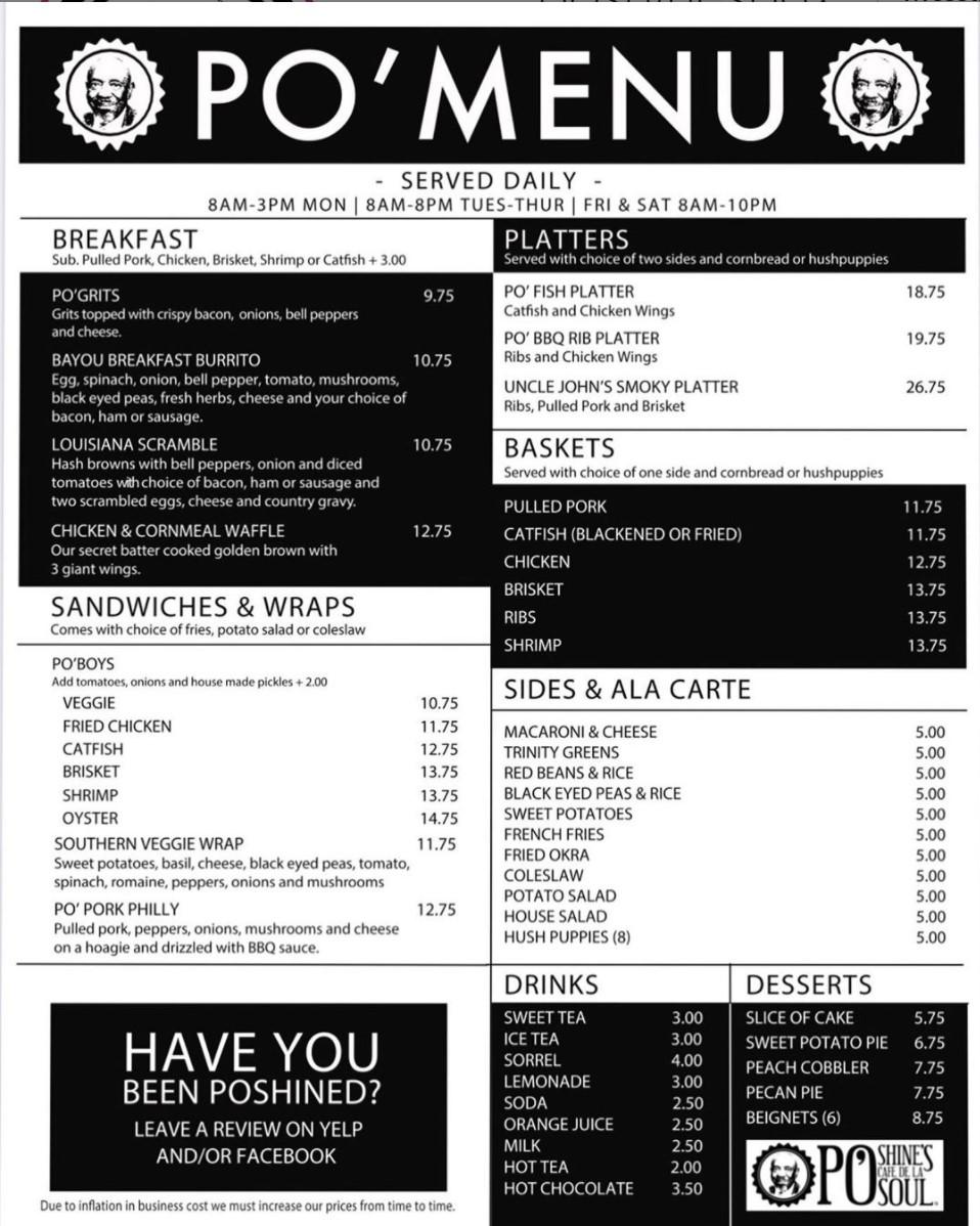 August menu: PoShines